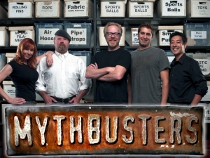 Kari Byron, Jamie Hyneman, Adam Savage, Tory Bellaci and Grant Imahara (from left)